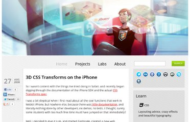 http://paulbakaus.com/2008/08/27/3d-css-transforms-on-the-iphone/