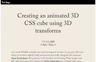 http://www.paulrhayes.com/2009-07/animated-css3-cube-interface-using-3d-transforms/