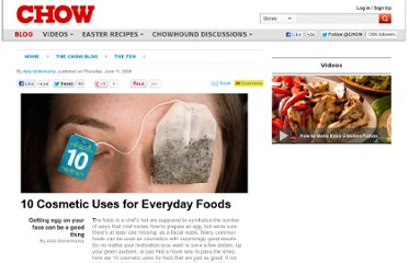 http://www.chow.com/food-news/55097/10-cosmetic-uses-for-everyday-foods/