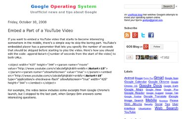http://googlesystem.blogspot.com/2008/10/embed-part-of-youtube-video.html