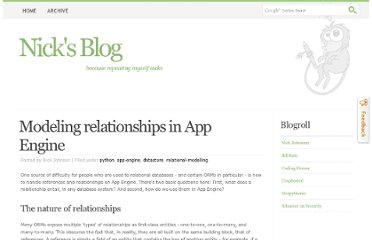 http://blog.notdot.net/2010/10/Modeling-relationships-in-App-Engine