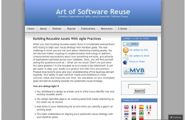 http://artofsoftwarereuse.com/2009/09/25/building-reusable-assets-with-agile-practices/