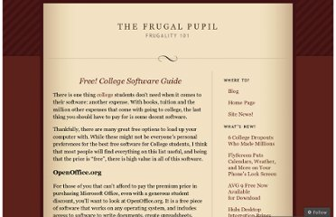 http://frugalpupil.wordpress.com/2009/10/16/free-college-software-guide/