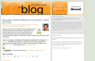 http://www.fastforwardblog.com/2008/01/11/recording-of-andrew-mcafee-and-tom-davenport-webinar-discussion/