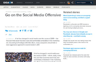 http://gigaom.com/2010/12/26/go-on-the-social-media-offensive/