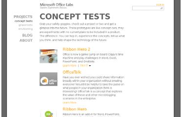 http://www.officelabs.com/Pages/ConceptTests.aspx?category=concept%20tests