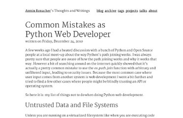 http://lucumr.pocoo.org/2010/12/24/common-mistakes-as-web-developer/