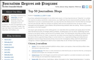 http://journalismdegree.org/2009/top-50-journalism-blogs/