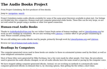 http://www.gutenberg.org/wiki/Gutenberg:The_Audio_Books_Project