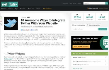 http://net.tutsplus.com/articles/10-awesome-ways-to-integrate-twitter-with-your-website/