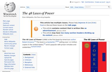 http://en.wikipedia.org/wiki/The_48_Laws_of_Power