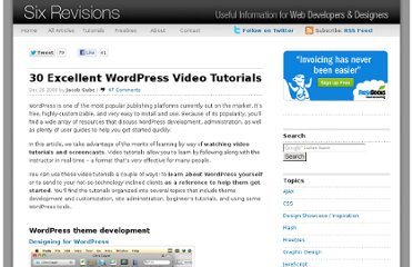 http://sixrevisions.com/wordpress/30-excellent-wordpress-video-tutorials/
