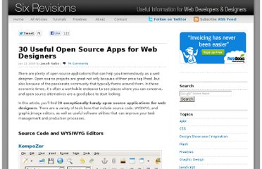 http://sixrevisions.com/tools/30-useful-open-source-apps-for-web-designers/