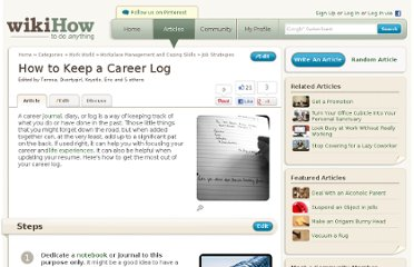 http://www.wikihow.com/Keep-a-Career-Log