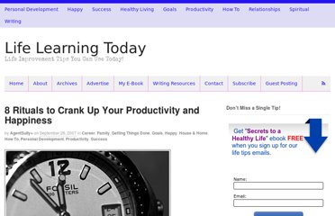 http://lifelearningtoday.com/2007/09/26/8-rituals-to-crank-up-your-productivity-and-happiness/