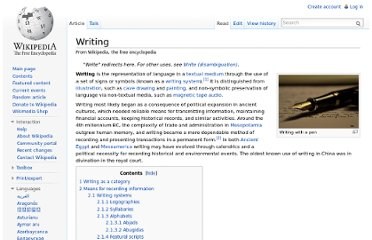 http://en.wikipedia.org/wiki/Writing