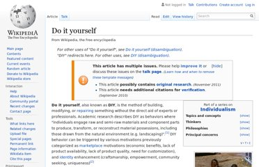 http://en.wikipedia.org/wiki/Do_it_yourself