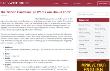 http://www.dailywritingtips.com/the-yiddish-handbook-40-words-you-should-know/