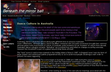 http://www.abc.net.au/4corners/dance/music/01culture.htm