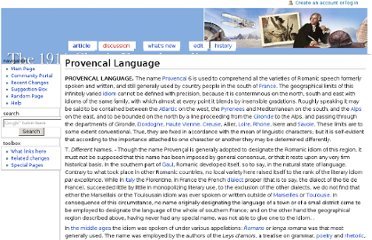 http://www.1911encyclopedia.org/Provencal_Language
