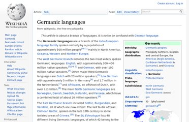 http://en.wikipedia.org/wiki/Germanic_languages