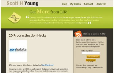 http://www.scotthyoung.com/blog/2007/05/21/20-procrastination-hacks/