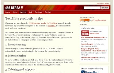 http://www.456bereastreet.com/archive/200811/textmate_productivity_tips/