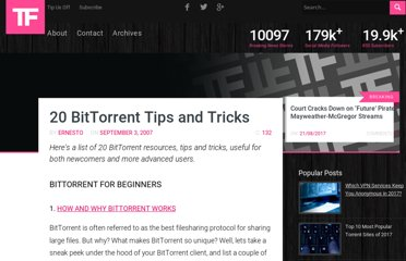 http://torrentfreak.com/20-bittorrent-tips-and-tricks-070903/
