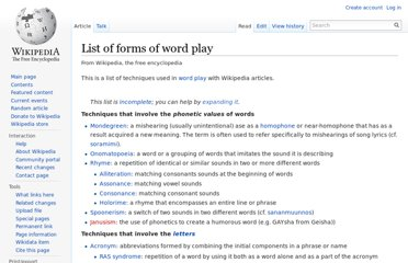 http://en.wikipedia.org/wiki/List_of_forms_of_word_play