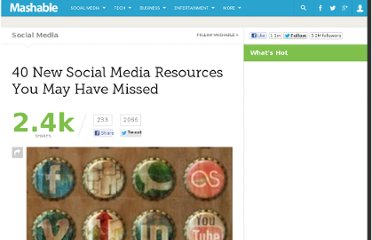 http://mashable.com/2011/01/01/new-social-media-resources-13/