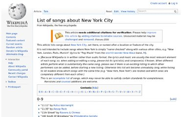 http://en.wikipedia.org/wiki/List_of_songs_about_New_York_City