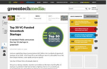 http://www.greentechmedia.com/articles/read/Top-50-VC-Funded-Greentech-Startups