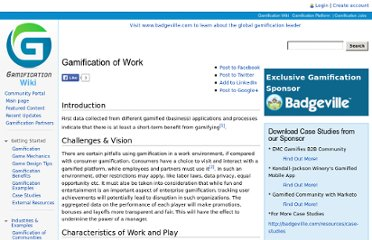 http://gamification.org/wiki/Gamification_of_Work