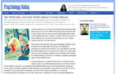 http://www.psychologytoday.com/articles/200706/ten-politically-incorrect-truths-about-human-nature