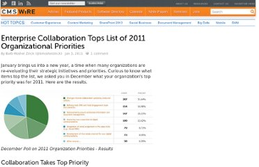 http://www.cmswire.com/cms/enterprise-20/enterprise-collaboration-tops-list-of-2011-organizational-priorities-009687.php
