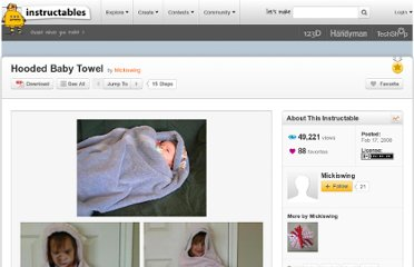 http://www.instructables.com/id/Hooded-Baby-Towel/