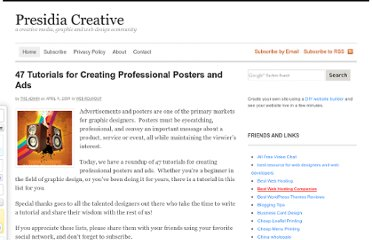 http://www.presidiacreative.com/47-tutorials-for-creating-professional-posters-and-ads/