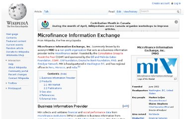 http://en.wikipedia.org/wiki/Microfinance_Information_Exchange