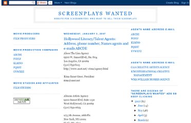 http://screenplayshollywood.blogspot.com/2007/01/hollywood-literarytalent-agents-address_03.html