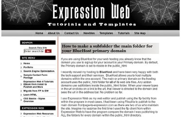 http://www.expression-web-tutorials.com/bluehost-main-domain-sub-folder.html