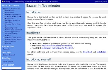 http://doc.bazaar.canonical.com/bzr.dev/en/mini-tutorial/index.html