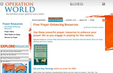 http://www.operationworld.org/free-prayer-enhancing-resources