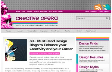 http://www.creativeopera.com/2009/80-design-blogs/