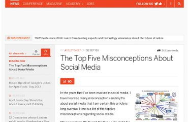 http://thenextweb.com/2009/09/30/top-misconceptions-social-media/