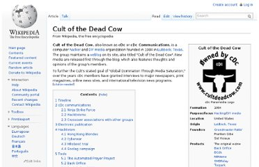http://en.wikipedia.org/wiki/Cult_of_the_Dead_Cow