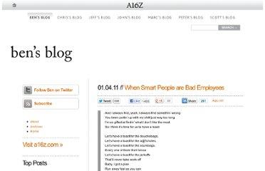 http://bhorowitz.com/2011/01/04/when-smart-people-are-bad-employees/
