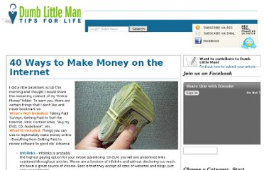 http://www.dumblittleman.com/2006/10/40-ways-to-make-money-on-internet.html