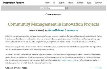 http://www.innovationfactory.eu/blog/2008/03/18/community-management-in-innovation-projects/