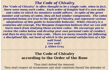http://www.weaponsemporium.com/WE-Codes%20of%20Chivalry.htm
