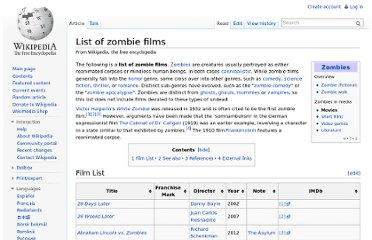 http://en.wikipedia.org/wiki/List_of_zombie_films